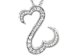 White Diamond Rhodium Over Sterling Silver Pendant With Chain 0.25ctw