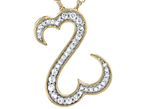 White Diamond 14k Yellow Gold Over Sterling Silver Pendant 0.25ctw
