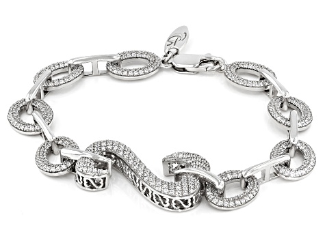 White Cubic Zirconia Rhodium Over Sterling Silver Bracelet 4.20ctw (2.44ctw DEW)