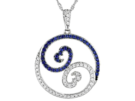 White Cubic Zirconia & Blue Lab Sapphire Rhodium Over Sterling Silver Pendant 1.50ctw