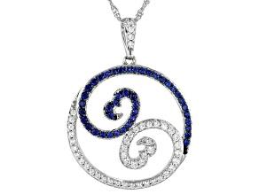 White Cubic Zirconia & Blue Lab Sapphire Rhodium Over Sterling Silver Pendant 1.50ctw