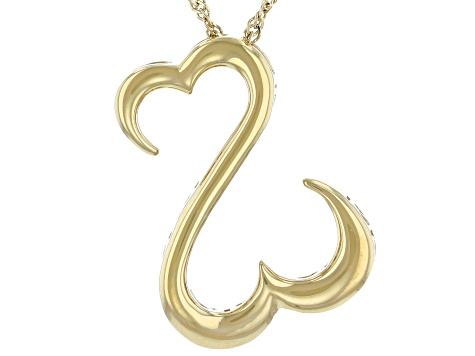 14k Yellow Gold Over Sterling Silver Pendant W/ Chain