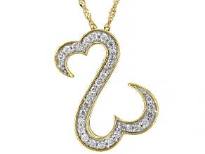 White Diamond 14k Yellow Gold Over Sterling Silver Pendant 0.50ctw