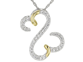 White Cubic Zirconia Rhodium And 14k Yellow Gold Over Sterling Silver Pendant