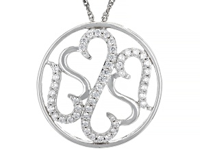White Cubic Zirconia Rhodium Over Sterling Silver Pendant