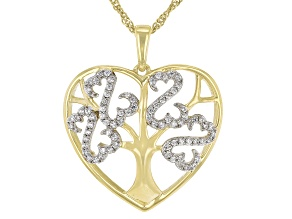 White Cubic Zirconia 14k Yellow Gold Over Sterling Silver Pendant