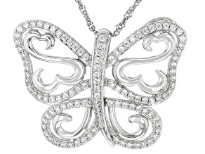 White Cubic Zirconia Rhodium Over Sterling Silver Butterfly Pendant