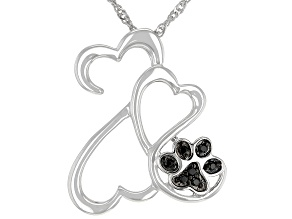 Black Spinel Accent Rhodium Over Sterling Silver Pendant