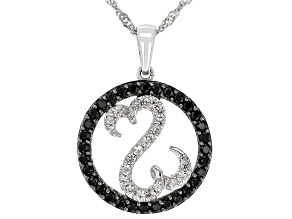 Black Spinel And White Zircon Rhodium Over Sterling Silver Pendant 1.00ctw