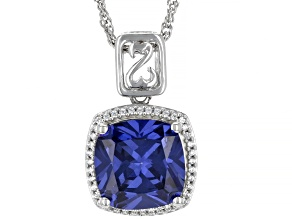 Blue And White Cubic Zirconia, Rhodium Over Sterling Silver Pendant