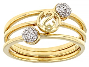 White Diamond 14k Yellow Gold Over Sterling Silver Set of 3 Stackable Rings 0.10ctw