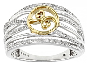 White Diamond Rhodium And 14k Yellow Gold Over Sterling Silver Ring 0.30ctw
