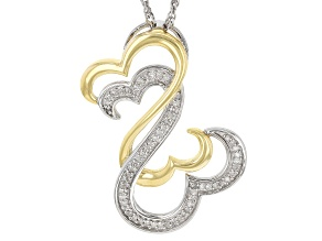 White Diamond Rhodium And 14K Yellow Gold Over Sterling Silver Pendant With Chain 0.20ctw