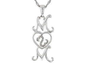 White Diamond Accent Rhodium Over Sterling Silver Mom Pendant With Chain