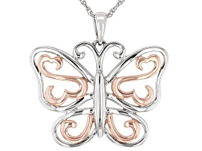 Rhodium And 14k Rose Gold Over Sterling Silver Butterfly Pendant