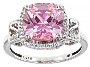 Pink And White Cubic Zirconia Rhodium Over Sterling Silver Cocktail Ring