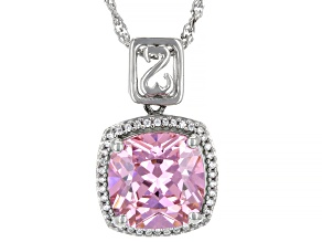 Pink And White Cubic Zirconia Rhodium Over Sterling Silver Pendant With Chain