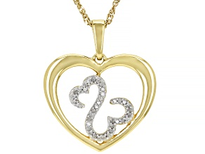 White Diamond 14k Yellow Gold Over Sterling Silver Pendant 0.10ctw
