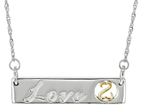Rhodium And 14k Yellow Gold Over Sterling Silver Love Necklace