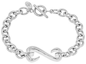 Rhodium Over Sterling Silver Unisex Bracelet