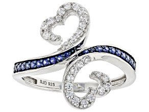 White Cubic Zirconia And Blue Lab Created Sapphire Rhodium Over Sterling Silver Ring 0.65ctw