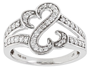 White Cubic Zirconia Rhodium Over Sterling Silver Open Design Ring 0.75ctw