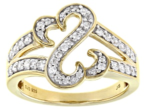 White Cubic Zirconia 14k Yellow Gold Over Sterling Silver Open Design Ring 0.75ctw