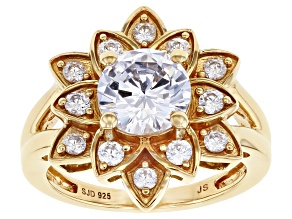 White Cubic Zirconia 14k Yellow Gold Over Sterling Silver Lotus Flower Ring 4.25ctw