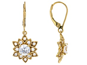 White Cubic Zirconia 14k Yellow Gold Over Sterling Silver Lotus Flower Earrings 3.65ctw