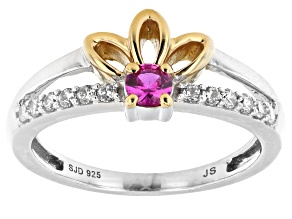 Cubic Zirconia And Lab-Created Ruby Rhodium And 14k Yellow Gold Over Sterling Silver Ring 0.55ctw
