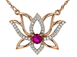 Raspberry Lab Created Ruby And White Cubic Zirconia 14k Rose Gold Over Sterling Silver Necklace