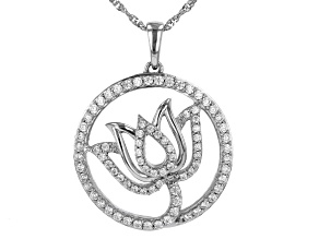 White Cubic Zirconia Rhodium Over Sterling Silver Lotus Pendant With Chain 2.00ctw