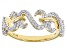 White Cubic Zirconia 14k Yellow Gold Over Sterling Silver Band Ring 0.40ctw