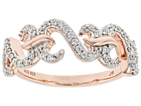 White Cubic Zirconia 14k Rose Gold Over Sterling Silver Band Ring 0.40ctw