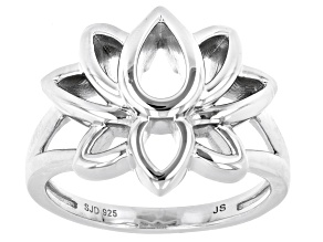 Rhodium Over Sterling Silver Lotus Flower Ring