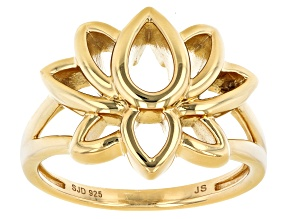 14k Yellow Gold Over Sterling Silver Lotus Flower Ring