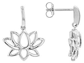 Rhodium Over Sterling Silver Lotus Flower Earrings