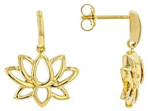 14k Yellow Gold Over Sterling Silver Lotus Flower Earrings