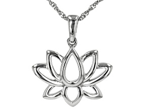Rhodium Over Sterling Silver Lotus Flower Pendant With Chain