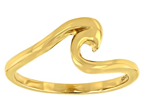 14k Yellow Gold Over Sterling Silver Wave Ring