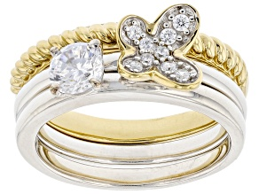 White Cubic Zirconia Rhodium & 14k Yellow Gold Over Sterling Silver Set Of 3 Stackable Rings 1.10ctw