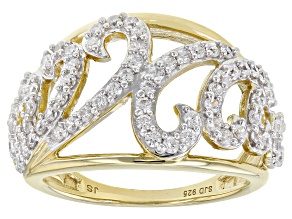 White Cubic Zirconia 14k Yellow Gold Over Sterling Silver Open Design Wave Ring 1.60ctw