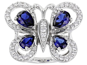Lab Blue Sapphire & White Cubic Zirconia Rhodium Over Sterling Silver Butterfly Ring 3.80ctw