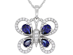 Blue Lab Sapphire & White Cubic Zirconia Rhodium Over Sterling Silver Butterfly Pendant 3.80ctw
