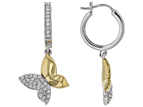 White Cubic Zirconia Rhodium And 14k Yellow Gold Over Sterling Silver Dangle Earrings 0.90ctw