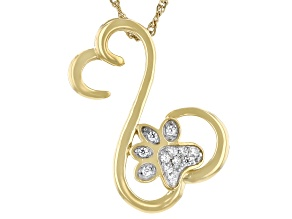 White Cubic Zirconia 14k Yellow Gold Over Sterling Silver Paw Print Pendant With Chain 0.15ctw