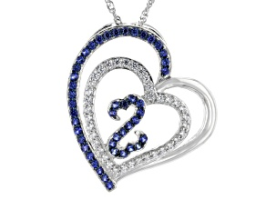 Blue Lab Sapphire And White Cubic Zirconia Rhodium Over Sterling Silver Pendant With Chain 1.30ctw