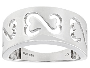 Rhodium Over Sterling Silver Wide Band Ring
