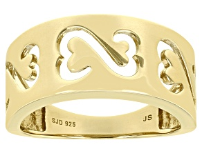 14k Yellow Gold Over Sterling Silver Wide Band Ring