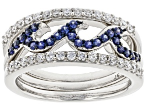 Blue Lab Sapphire & White Cubic Zirconia Rhodium Over Sterling Silver Set of 3 Rings 0.95ctw